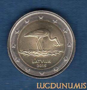 2-Euro-Commemo-Lettonie-2015-La-Cigogne-Latvija