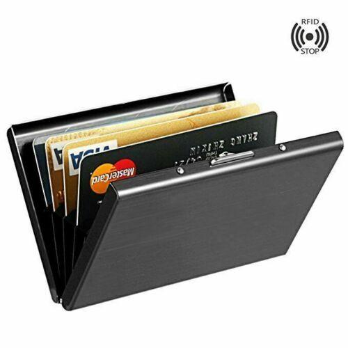 RFID Blocking Stainless Steel Men Slim Wallet ID Credit Card Holder Metal Cases