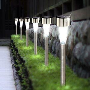 5x LED Außen Leuchten Garten Beleuchtung Hof Weg Solar Edelstahl Steck Lampen