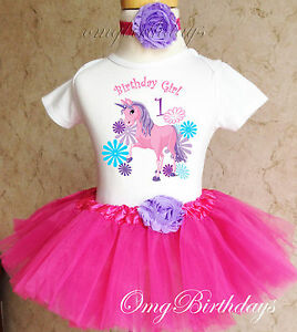 4678cebf4ef6e Unicorn Pink Purple Infant Baby Girl 1st First Birthday Tutu Outfit ...