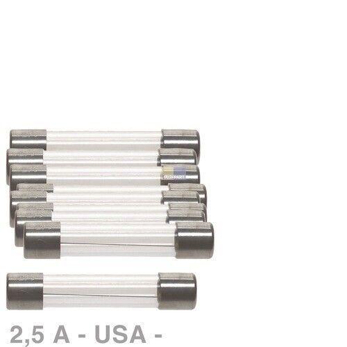 10x Indolent USA Feinsicherungen Fusible 2,5 A 6,3 X 32 Mm 6,3x32 glassicherung