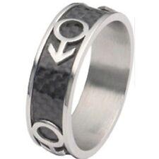 Carbon Fiber Rainbow Pride Male Symbol Design Stainless Steel Ring Sz 12