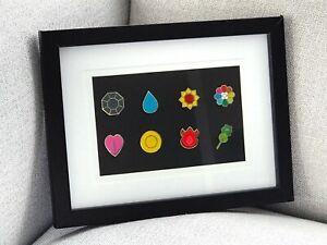 Framed-Complete-8-Gold-Kanto-Gym-Leader-Badges-Lapel-Pins-Pokemon-Series-1