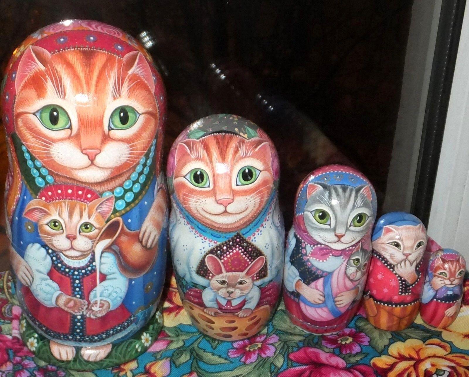 Russian Matryoshka Muñeca Anidación Rusas belleza Gatos Kitty Hecho a Mano Exclusivo