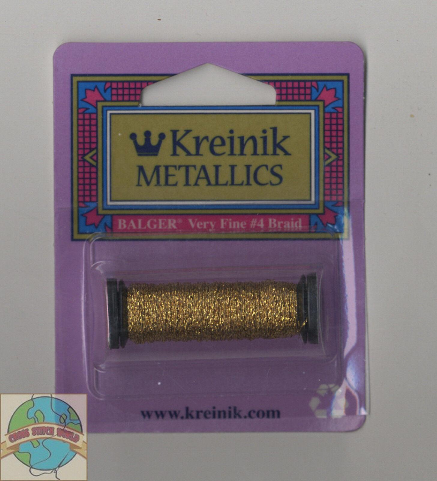 Kreinik très fine Metallic Braid #4 12yd-hi Lustre Aztec Gold