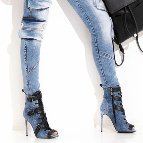 By Alina Mexton Jeans Stilettos Peep Toes High Heels Pumps Stiefel 36-39