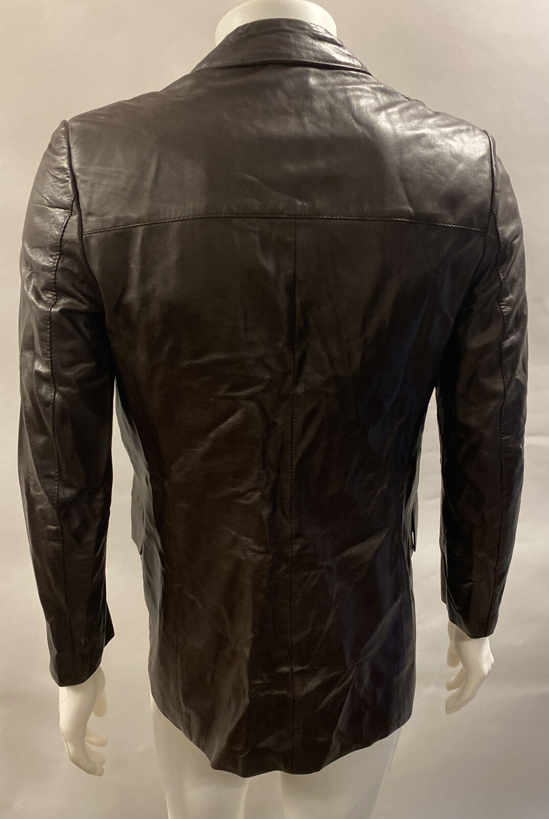 Mens Vintage Gucci Brown Leather Double Breasted … - image 4