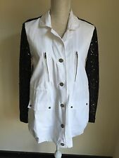 Vera & Lucy Women Jacket White With Cotton Black Sequin Sleeves Size L (14) (21)