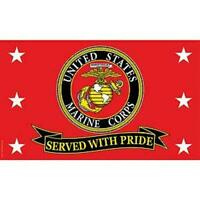 Us Marine Corps Served With Pride Full Sized Flag 3'x5' Made In Usa
