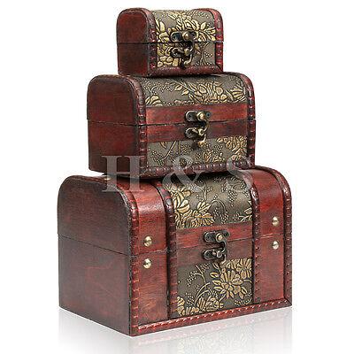 3 x Wooden Vintage Treasure Chest Wood Jewellery Storage Box Case Organiser Ring