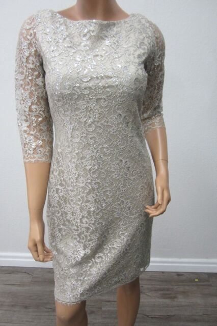 eff03aedc3f0 NWT CALVIN KLEIN COLLECTION Lace Dress Silver with Silver Metalic Thread  Siz 4