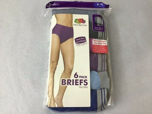 NWT Fruit of the Loom 6 pack Underwear 8//XL Brief Panty Tagless Assorted S10