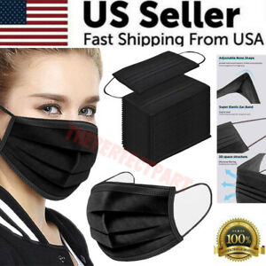 BLACK-50-PCS-Face-Mask-Surgical-Dental-Disposable-3-Ply-Earloop-Mouth-Cover-USA