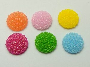 100-Mixed-Color-Flatback-Resin-Floral-Round-Cabochons-12mm-DIY-Craft