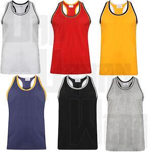 Para-Hombre-Chaleco-Camiseta-Sin-Mangas-Musculo-Top-Racerback-DT-Gimnasio-Culturismo-100-algodon-sin