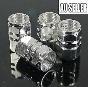 4pcs Silver Wheel Tyre Tire Valve Stems Air Dust Cover Screw Caps Car Truck Bike