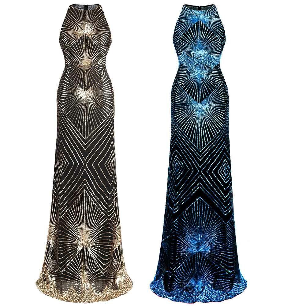 Angel-fashions Damen Paillette Art Deco Säule Funkeln Lange Abendkleid Blau 402