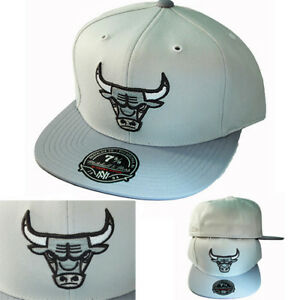 83e015a1bb7 Mitchell   Ness NBA Chicago Bulls Fitted Hat 2 Tone Cool Grey Cap