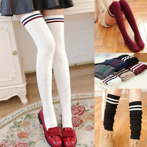 Cute-Girls-Elastic-Over-Knee-Striped-Stockings-Cotton-Knitting-Thigh-High-Socks