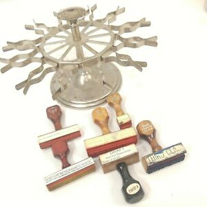 Vintage-Achilles-Rubber-Stamp-Carousel-Holder-12-Clamps-Achilles-5-Stamps