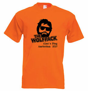 816e35f99e328 Details about Wolfpack Stag Do Personalised T Shirt Hangover Custom Design