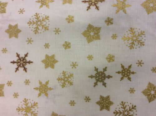 Stof-temblar-copos de nieve Oro Sobre Fondo Crema 100/% Tela De Algodón