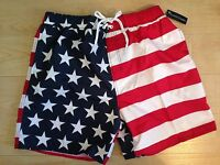 Faded Glory American Flag Fourth Of July Swim Trunk Board Shorts Sz S M L Xl