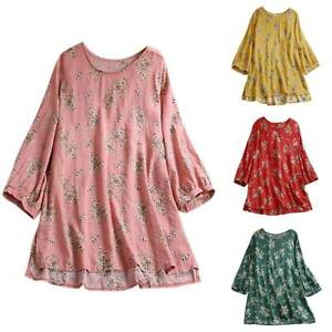 Women-Long-Sleeve-T-Shirt-Floral-Boho-Casual-Loose-Tunic-Blouse-Tops-Plus-Size