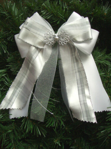 Weihnachten*4//10 Weihnachtsschleifen*Christbaum*Deko*Schleifen*silber/&weiß*