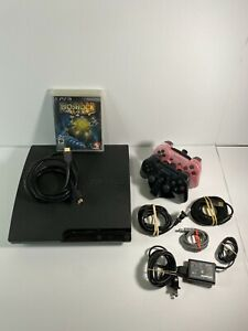 Sony PlayStation 3 PS3 Slim Console 160GB Bundle w/ 1 Games + 2 Controllers