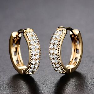 Details About 18k Yellow Gold Filled Swarovski Crystal New Look Party Stylish Hoop Earrings