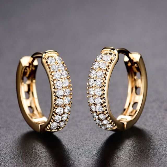 fe600e04d 18K Yellow Gold Filled Swarovski Crystal New Look Party Stylish Hoop  Earrings