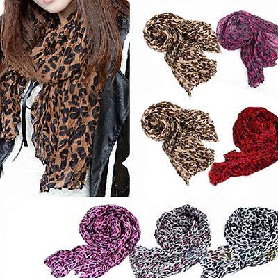 Fashion Womens Girls Soft Leopard Print Crinkle Shawl Scarf Long Stole BE1U