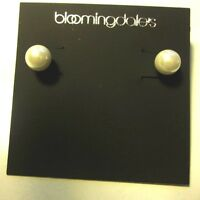 Bloomingdales Earrings Pierced Stud Silver Tone W/ Small Faux Pearl