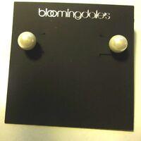 Bloomingdales Earrings Pierced Stud Silver Tone W/ Small Faux Pearl
