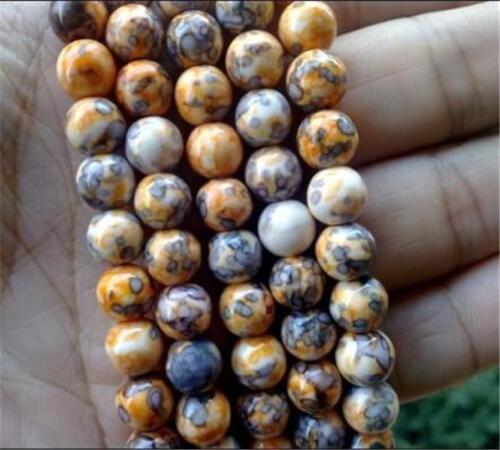8mm orange colorful Rainbow Jasper gemstone loose beads 15/'/'AAA##ZY326