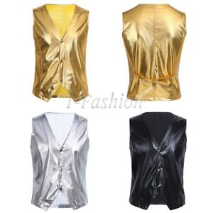 Mens-Casual-Formal-Waistcoat-Vest-Tops-Punk-Patent-Leather-Jackets-Slim-Wedding