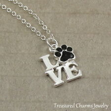 Silver Love with Paw Print Charm Necklace - Cat Dog Animal Rescue Pendant NEW