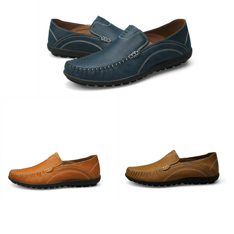 Mens Pumps  Real Leather Gommino Flat Heel Slip On Leisure Loafer Driving shoes