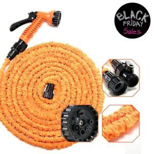 Latex-Deluxe-100-FT-Expanding-Flexible-Garden-Water-Hose-Spray-Nozzle-Orange