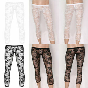 Mens Low Rise See Through Floral Lace Underwear Pants Footless Tights Trousers