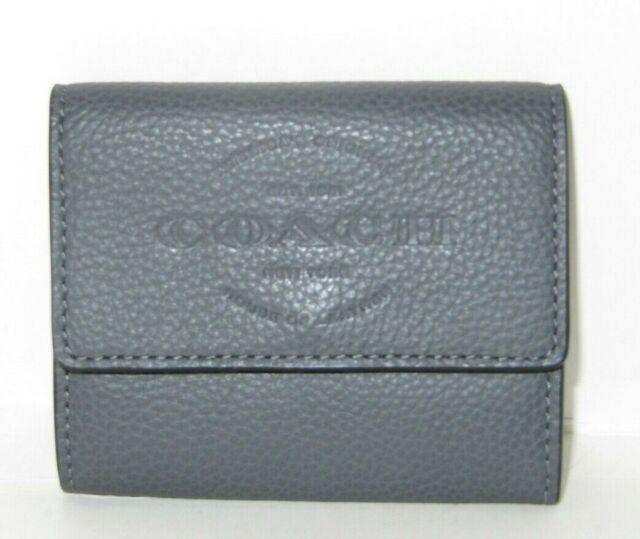 f0c55ffae8 Coach F24652 Coin Case Graphite Natural Leather Men's Wallet