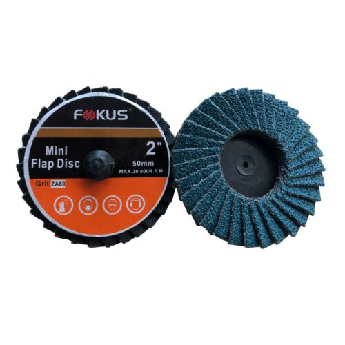 "Fokus 10 Pack 2/"" Grit 60 Zirconia Flap Disc Roloc Grinding Type R Wheels T27"