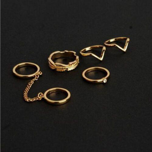 Cute 1 Set Tip Mid Leaf Finger Rings Chain Knuckle