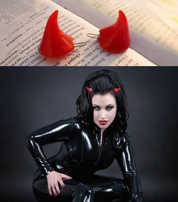 1 x pair Gothic Punk Red Devil Horns Hair Clips Party Costume Accessory Sexy