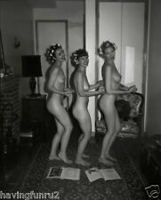 1950s 3 Amateur Nude women Posing in hair curlers 8 x 10 Photograph