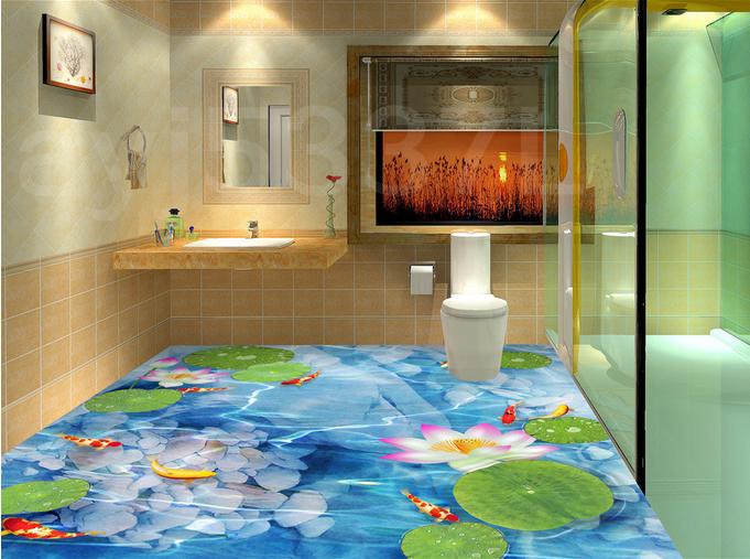 3D Lotus Blau Lake 755 Floor WallPaper Murals Wall Print Decal AJ WALL CA Lemon