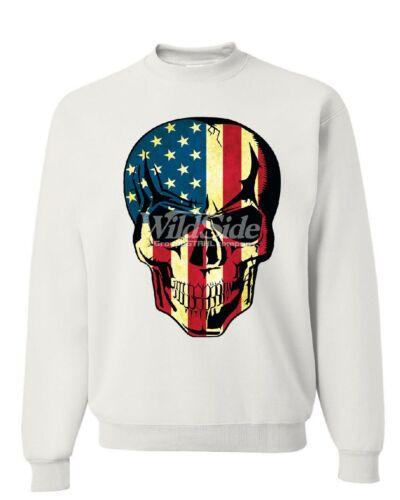 American Flag Skull Sweatshirt Badass Stars And Stripes 4th of July Sweater