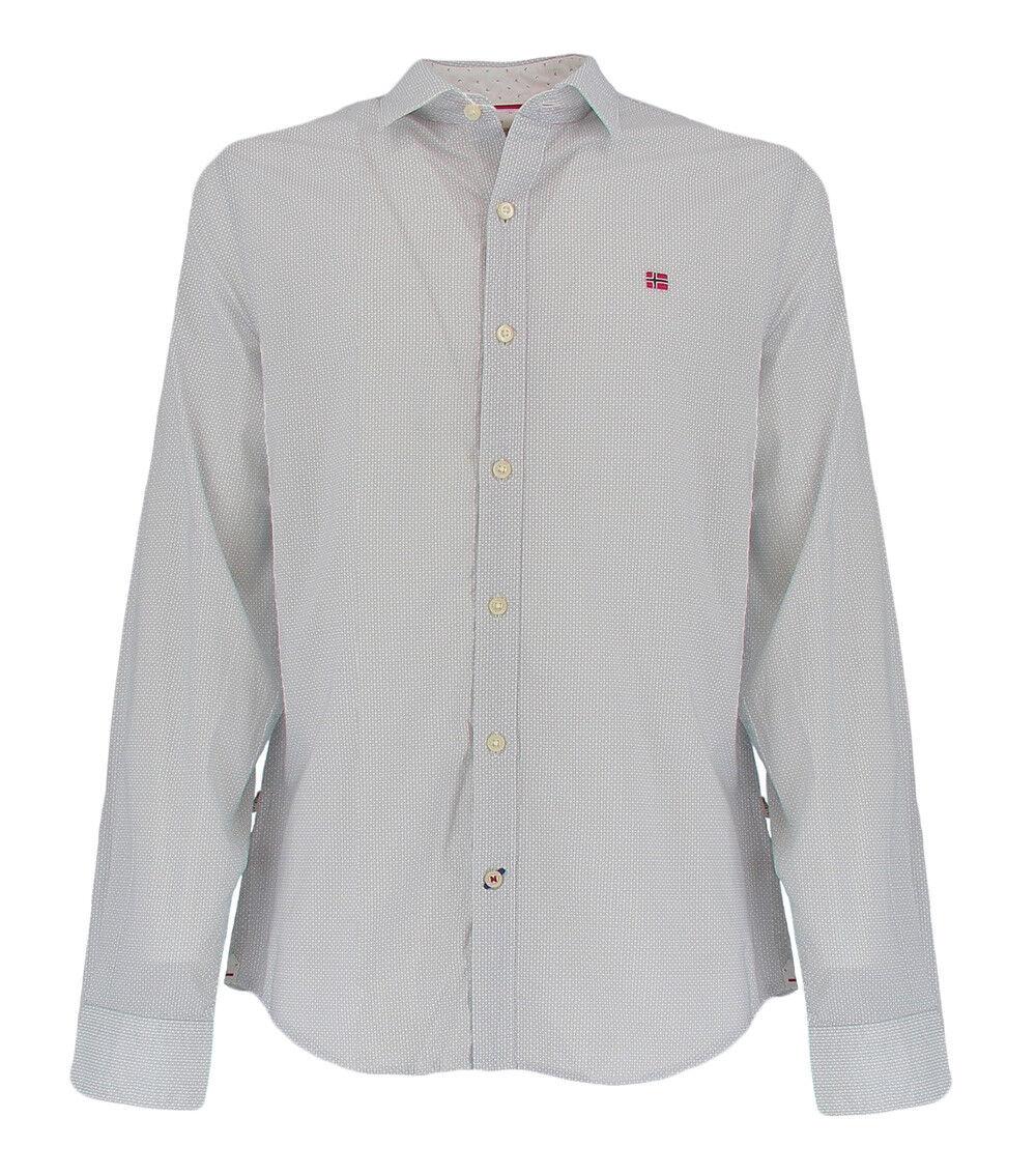 Camicia da uomo colore bianco con micro fantasia Napapijri GISBORNE FANTASYF32
