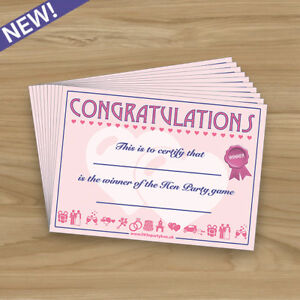 Image Is Loading 10 X Winners Certificates Hen Do Night